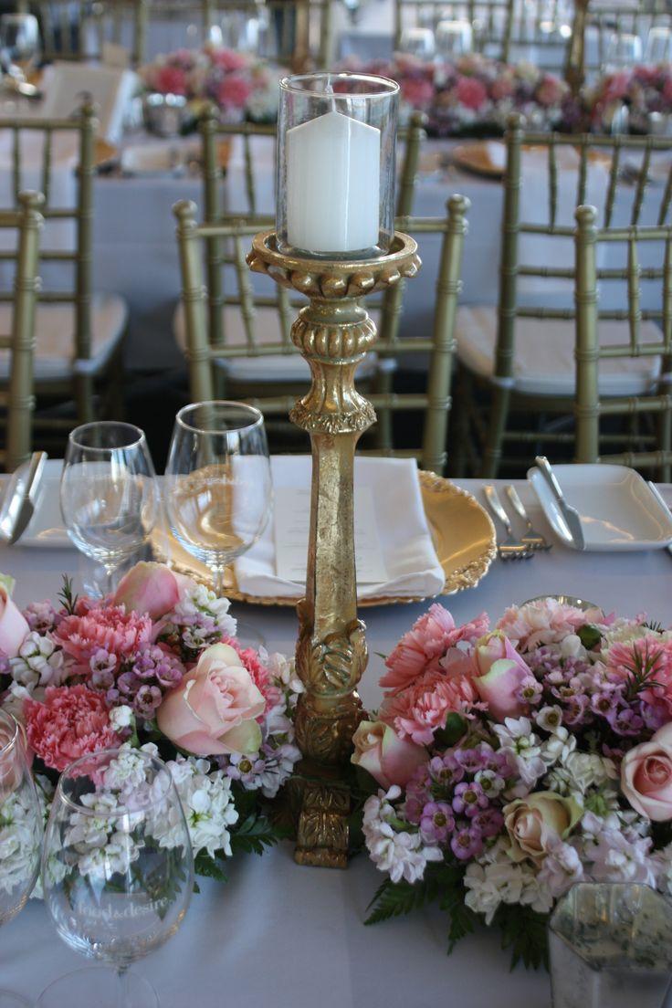 Decor It Events beautiful blush floral and gold candlesticks wedding design.  #decoritevents #events #melbourne #melbournewedding #tablescape #weddingstyling #wedding #goldcandlesticks #centerpieces# #styling #weddingdecor #weddingdecorations #tabledecorations