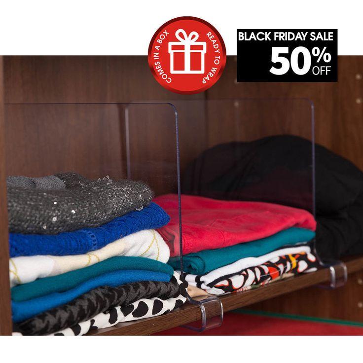 ClosetMate Beautiful 4 Pack Acrylic Shelf Dividers, Closet Shelves, Organizer... #ClosetMate