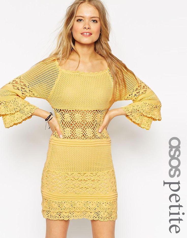 Image 1 ofASOS PETITE Crochet Dress With Off Shoulder