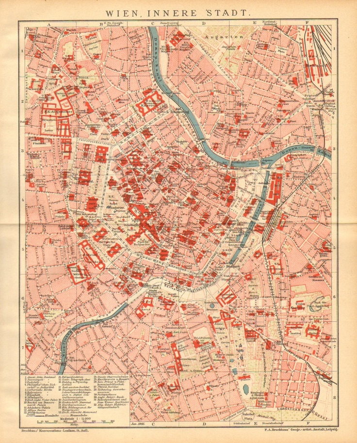 1905 Antique Dated City Map of Vienna