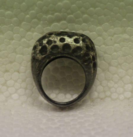 gümüş oksit derin çukur dokulu yüzük - silver ring