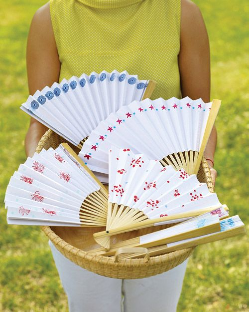 Use Ink Pads from Martha Stewart Crafts to embellish a paper fan with a fireworks pattern that is perfectly fitting for this 4th of July: Paper Craft, Sunny Days, Wedding, Paper Fans, Stamped Paper, Party Ideas, Crafts