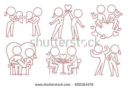 Vector set of cartoon images of loving couples: woman and man with different actions on a white background. Love, relationship, date. Made in monochrome style. Line art. Vector icon.