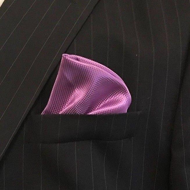 New Men's Purple Satin Silk Pocket Square Hankie Hankerchief NWOT #Unbranded #Plain