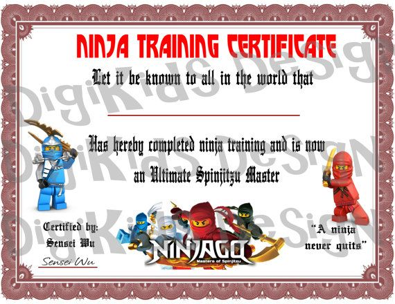 Lego Ninjago Birthday Ninja Training Certificate Favor (Instant Download)