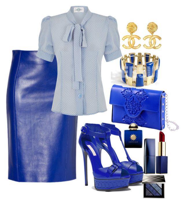 """Sexy blue"" Diva of Cake on Polyvore featuring MeDusa, Casadei, Chanel, Estée Lauder, AMOUAGE and Burberry"