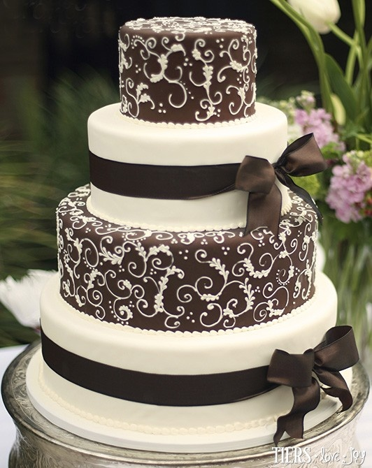 Brown And Ivory Wedding Cake With Feathered Scrolls By Beverlys Bakery