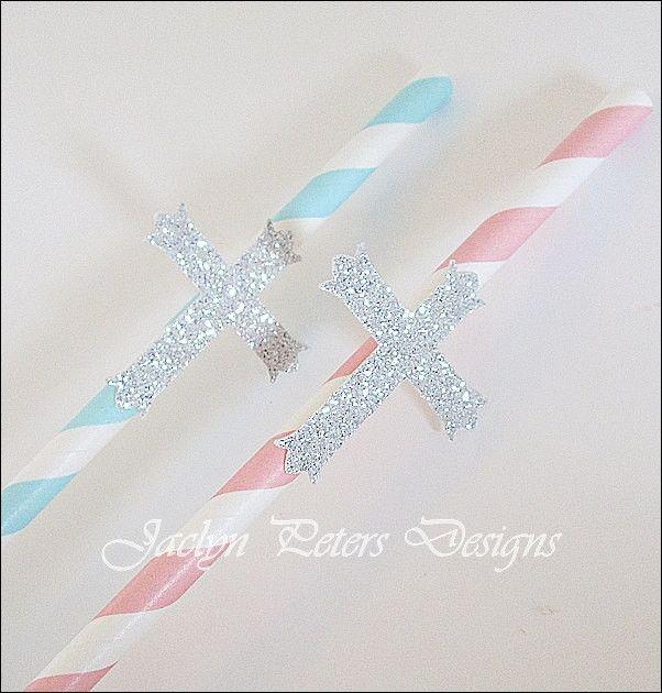 Silver Glitter Cross Communion Party Straws