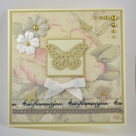 Kort til konfirmant nr 05. Håndlaget kort. Handmade card.