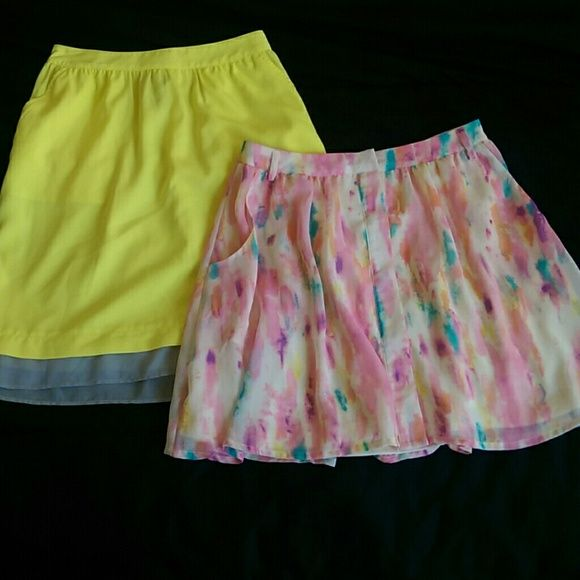 Skirt Bundle! Rory Beca for F21 and Mossimo Rory Beca for Forever 21 Watercolor Skirt - size S (fits XXS-S). Snap button front, lined w/ pockets.  Mossimo A-line skirt - size XS. Yellow w/ grey trim. Unlined w/ pockets, elasticized waist.   Both in excellent condition. Can be worn high waisted or regular. Perfect for summer! Forever 21 Skirts