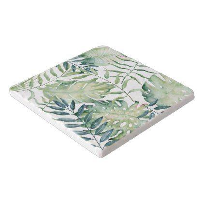 #flower - #Tropical Leaves Watercolor Trivet