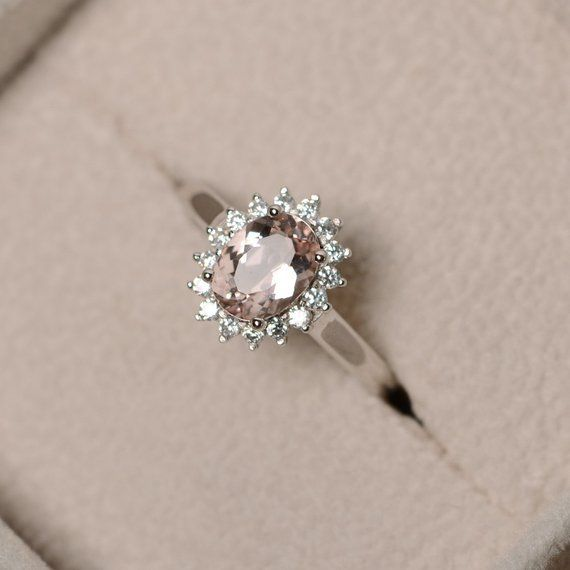 Natural morganite ring, pink gemstone, sterling silver, engagement ring, promise ring for her