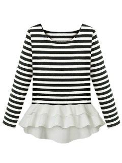 Shop Striped Long Sleeve Peplum Blouse from choies.com .Free shipping Worldwide.$13.9