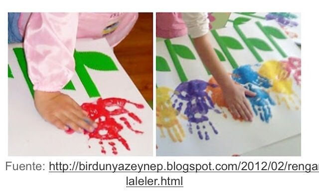 Flores hechas con las manos y pintura
