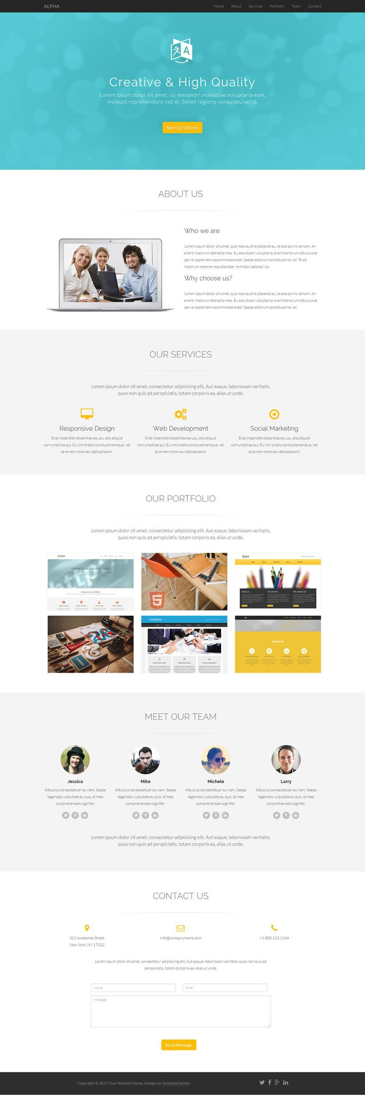33 best Free One Page HTML Templates images on Pinterest | Website ...