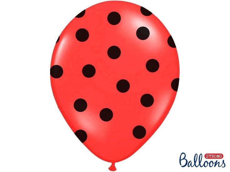 Globos rojos con lunares negros, son preciosos y para fiestas de ladybug quedan super chulos! #ladybug #fiestaladybug #decoracionladybug #cumpleañosladybug