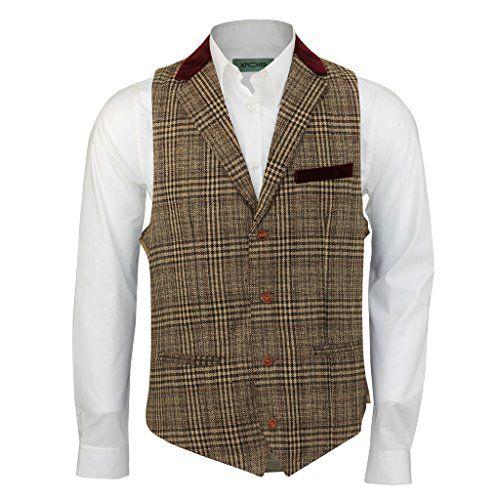 Mens Brown Tweed Check Slim Vintage Waistcoat Red Velvet Collar Trim Casual Vest Xposed http://www.amazon.co.uk/dp/B017NEZS98/ref=cm_sw_r_pi_dp_hdY1wb1Z5KEW0