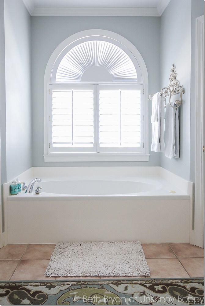 Pretty Bathroom With Silver Sage Paint