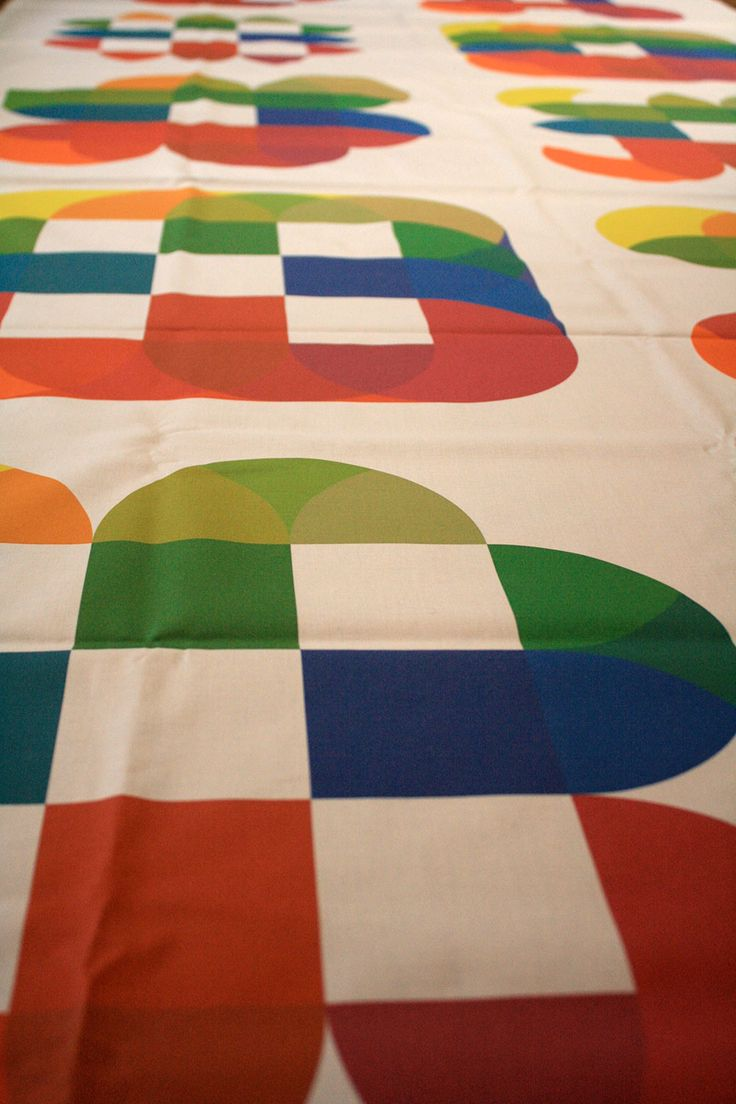 Blip is a colorful, modular, ornamental alphabet wich many dingbats printed on fabric to create complex patterns.
