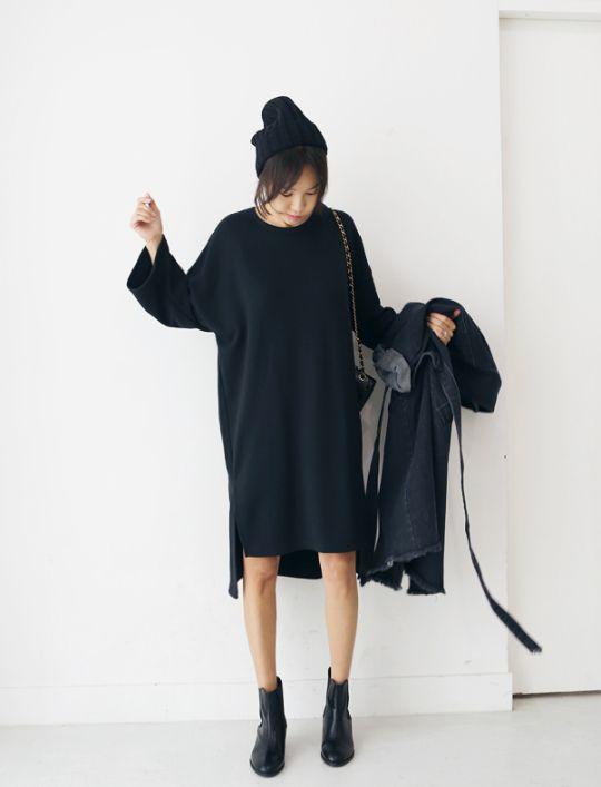 Oversized black cotton dress #oversized #dress