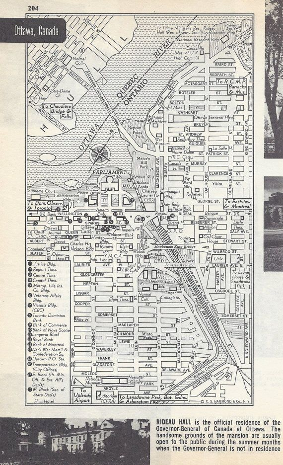 Ottawa Canada Map City Map Street Map 1950s by VintageButtercup, $6.00