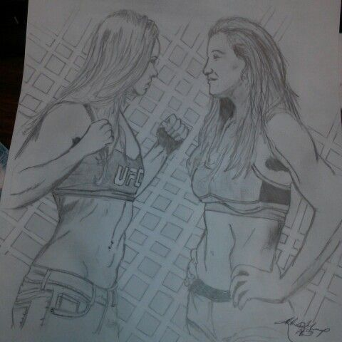 Ronda Rousey weigh in with Miesha Tate, drawing by Kdrian Lewis