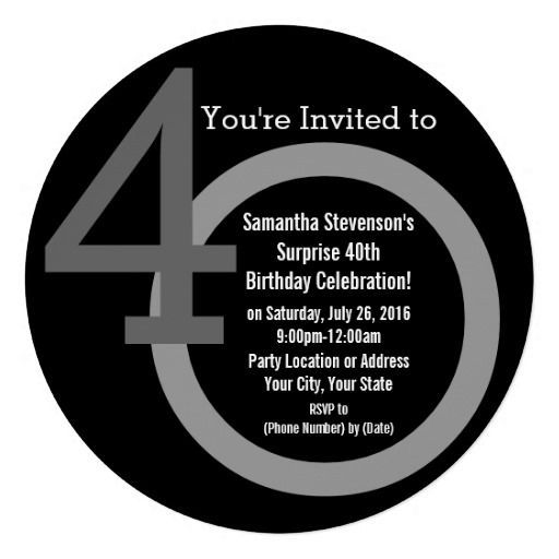 40th birthday invitations men | Cirle Round Numbers 40th Birthday Party Invitation, Unique Modern Over ...