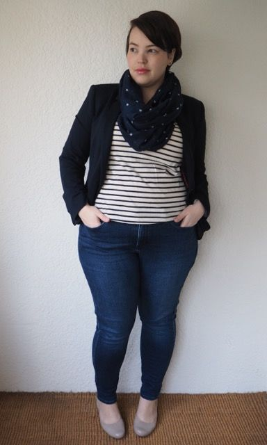 Proof that curvy and gamine can still work together! I like the knit blazer over the striped tee and skinny jeans with flats. I don't think the scarf would work with a big bust, though.