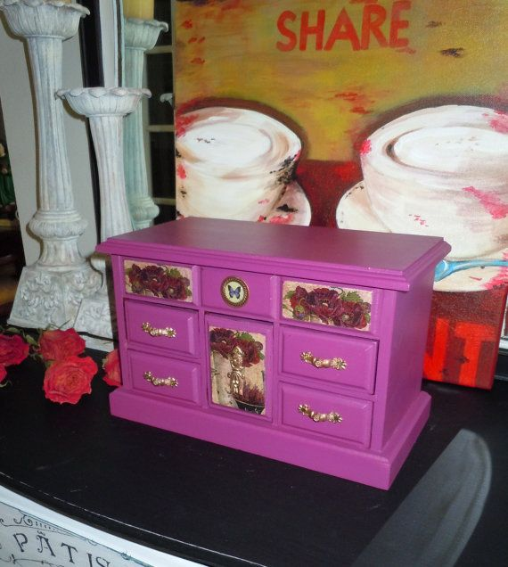 Victorian Beauty Jewelry Box. Hand Painted in by VintageByReDesign