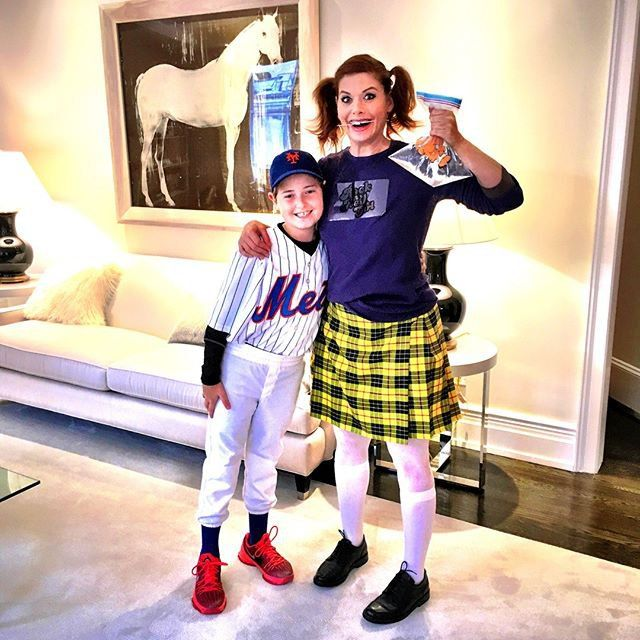 Pin for Later: All the Celebrity Halloween Costumes of 2015 Debra Messing as Darla From Finding Nemo and Her Son as a Mets Baseball Player