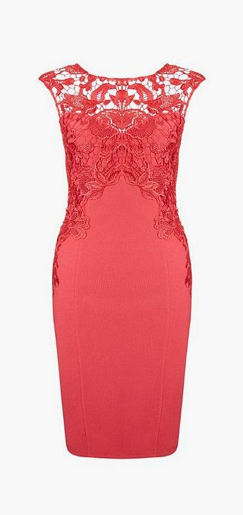 Red Crochet Sheath Dress- Sleeveless Red Crochet Sheath Dress