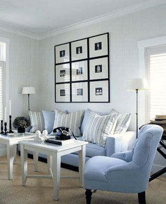 White and Blue Decorating Ideas | ... striped cushions, living room decor, light blue room decorating ideas
