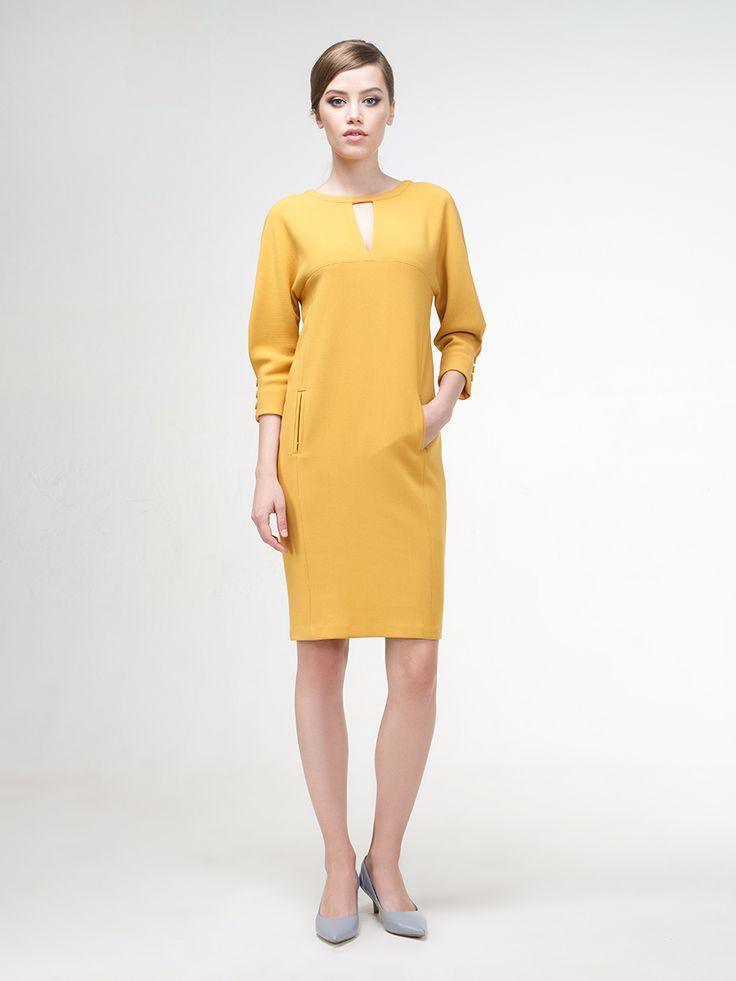 Платье цвет золотая охра, Плательный креп, артикул 1139950wg1520