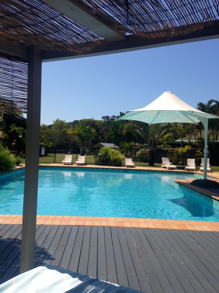 View from one of our poolside daybeds at Quality Hotel Ballina.