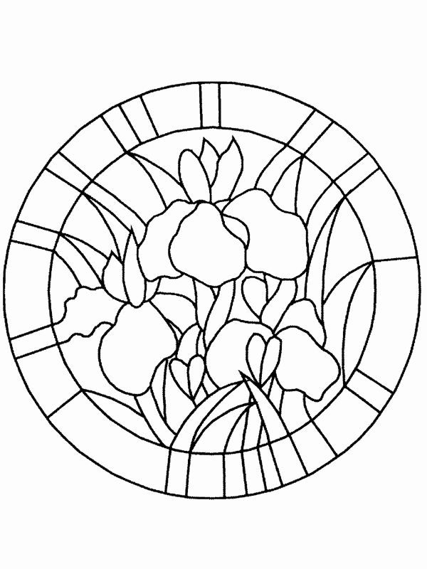 Adult Coloring Pages Stained Glass In 2020 Stained Glass Flowers