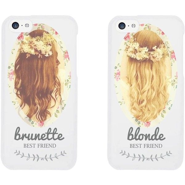 Cute BFF Phone Cases Brunette and Blonde Best Friends Phone Covers for... ($18) ❤ liked on Polyvore
