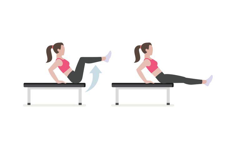 Ülj egy asztal vagy más sík felület szélére, és támaszkodj meg körülbelül 45 fokos szögben hátradőlve. Nyújtott állapotból emeld a képen látható módon hajlítással fel a lábaidat száz alkalommal.