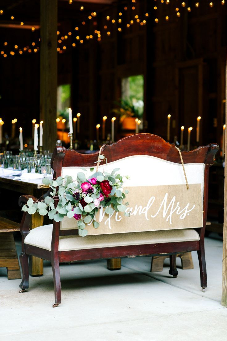 Mr. And Mrs. Sign For Wedding Love Seat // Head Table Decor,