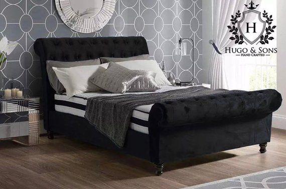 Luxury Chesterfield Sleigh Bed Frame In Plush Velvet Etsy
