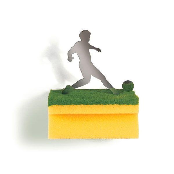 Schwammhalter - Clean Green, Fußballspieler. Schwammhalter mit Fußballspieler-Figur.