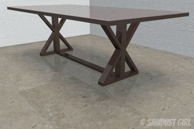 Diy X Base Dining Table Free Woodworking Plans Diy