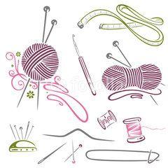 Vektor: Handarbeiten, Stricken, Wolle, Häkeln, Nähen