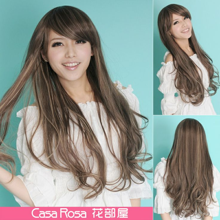 Heya flower streaked wig oblique bangs fluffy new wave of long curly hair, slightly curled hair design Japanese fashion US $69.00