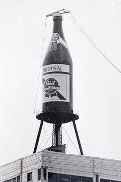 Long gone...Giant Pabst Blue Ribbon bottle alongside the Garden State Parkway, Newark, NJ