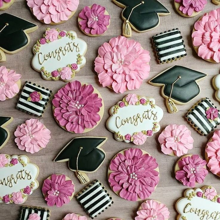 "278 Likes, 15 Comments - The CookieMeister (@the_cookiemeister) on Instagram: "" Congrats grad! I loved creating this lovely set to match her invitations!  My new fave plaque…"""