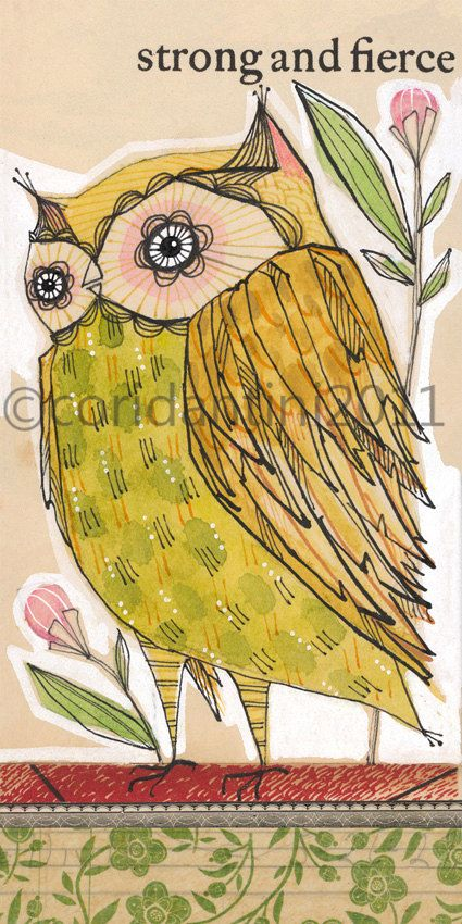 owl illustration - watercolor painting- yellow - green - red - 5 x 10 - limited edition archival print by cori dantini