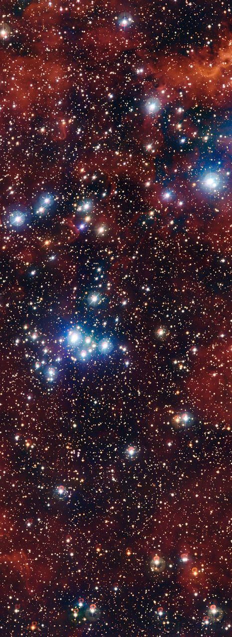 Star Cluster NGC 2367 lies about 7000 light-yrs from Earth in the constellation Canis Major. Having only existed for about 5 million years, most of its stars are young and hot and shine with an intense blue light. This contrasts wonderfully in this new image with the silky-red glow from the surrounding hydrogen gas. NGC 2367 and the nebula containing it are thought to be the nucleus of a larger nebula, known as Brand 16, which in turn is only a small part of a huge supershell, known as…