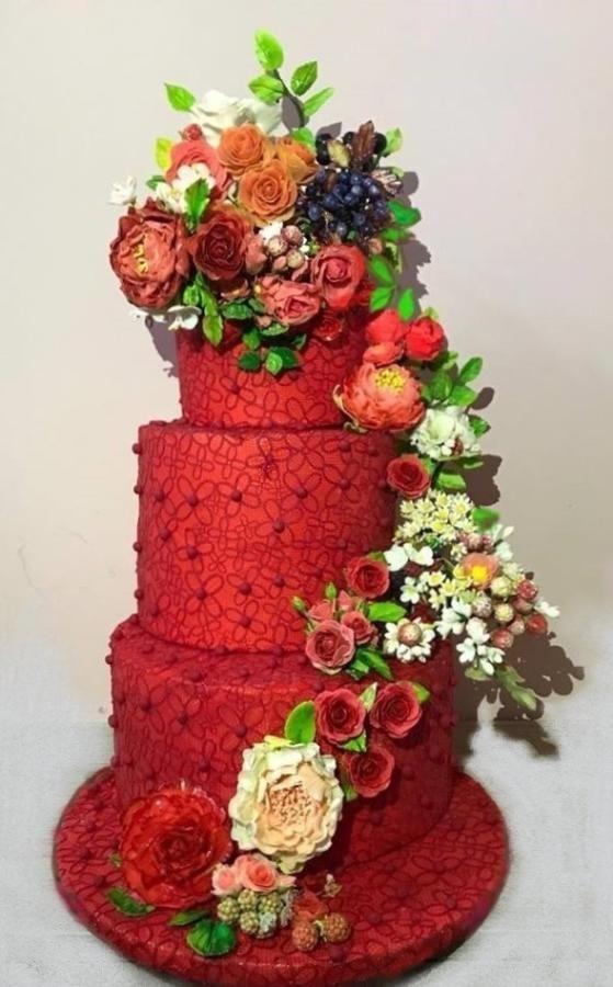 Red wedding cake  by WorldOfIrena - http://cakesdecor.com/cakes/295887-red-wedding-cake