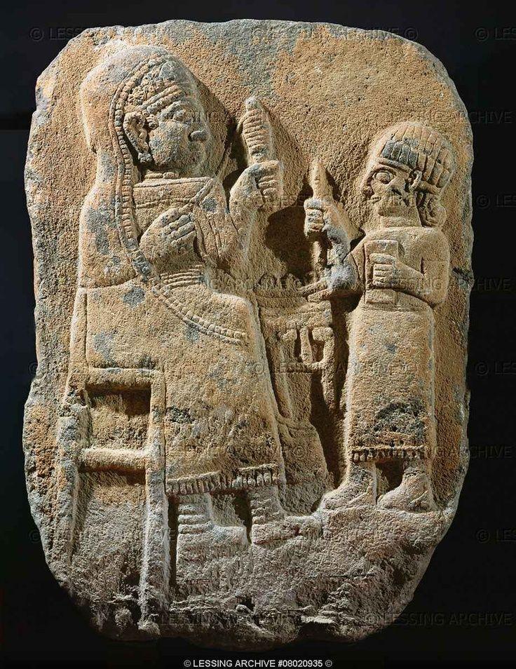 Hittite sculpture - 8th B.C. Tomb-stele, woman with distaff, child.