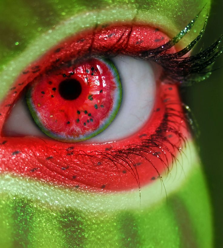 makeup. cosmetics. cosmetic, art. conceptual. eye, eyes. watermelon. body paint.